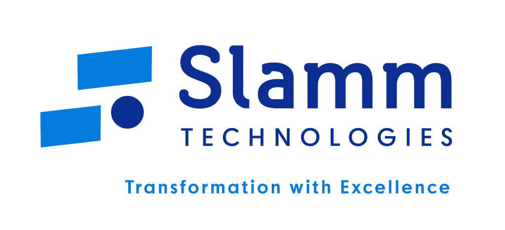 Slamm technologies logo in blue and navy