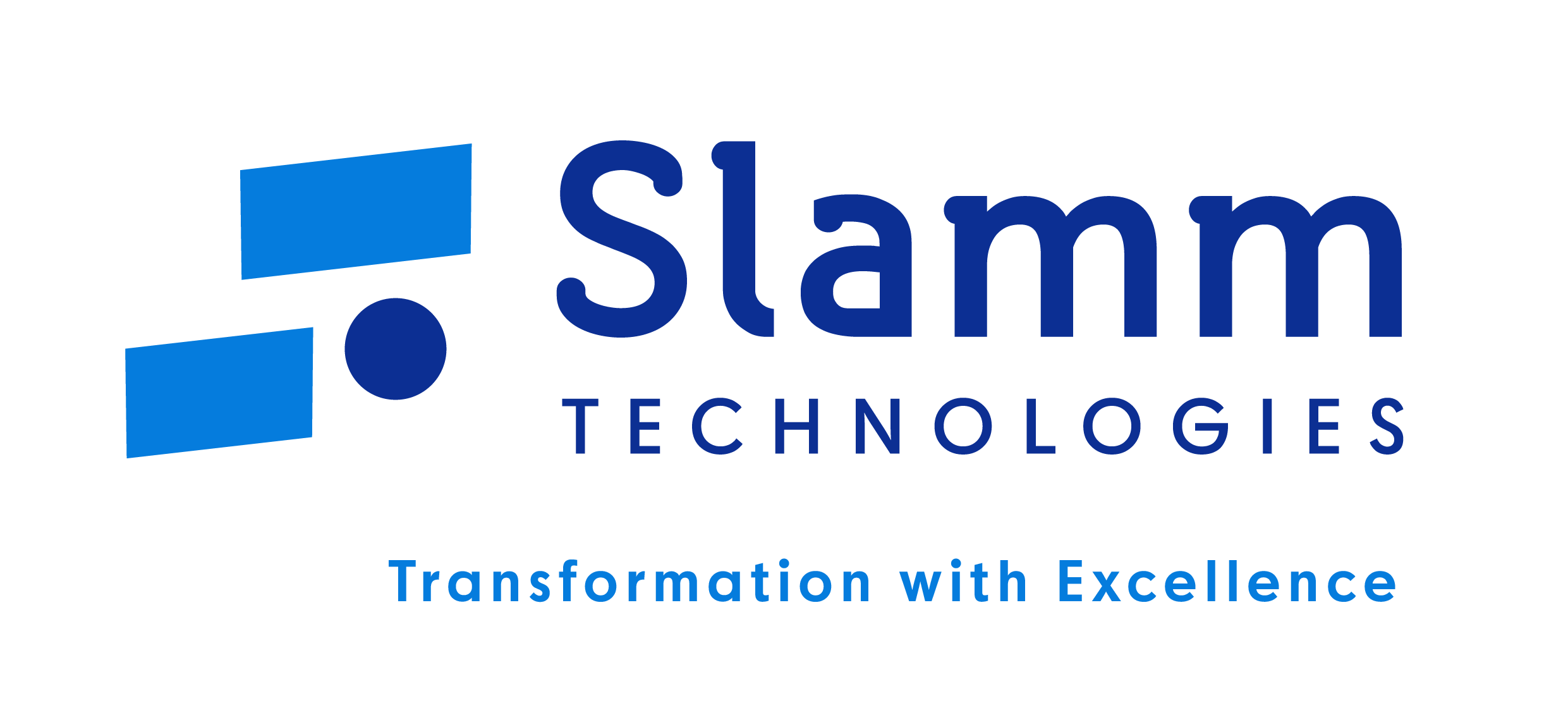 Slamm technologies logo in blue and navy